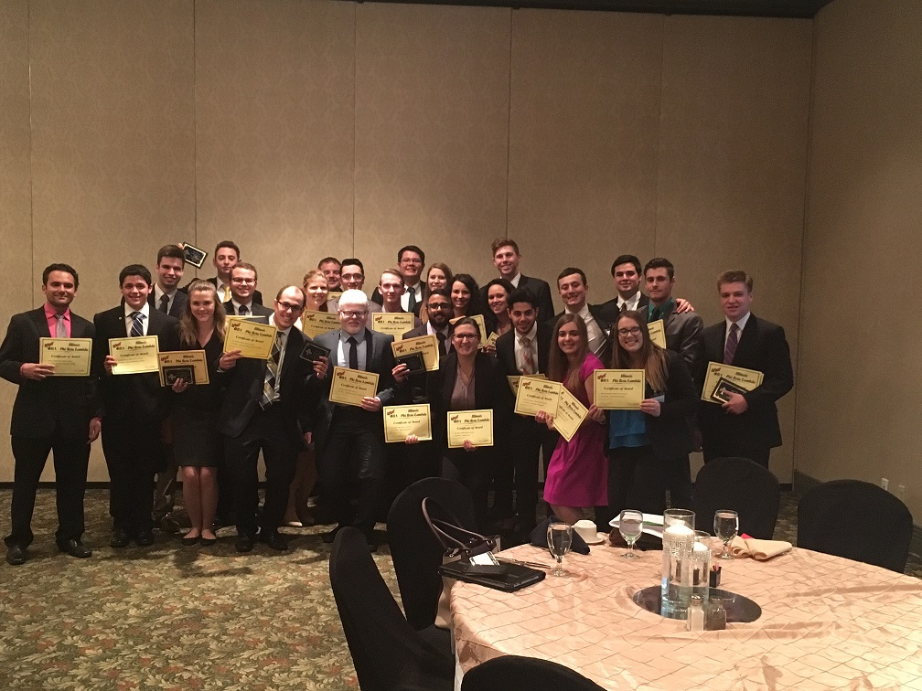 ISU Phi Beta Lambda members at the 2017 State of Illinois Phi Beta Lambda Leadership Conference holding awards.
